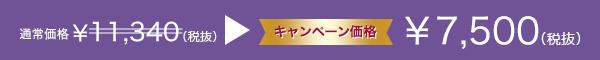 通常¥11,340(税別)キャンペーン価格¥7,500(税別)
