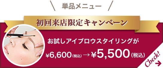 初回来店キャンペーン お試しアイブロウスタイリングが5,000円